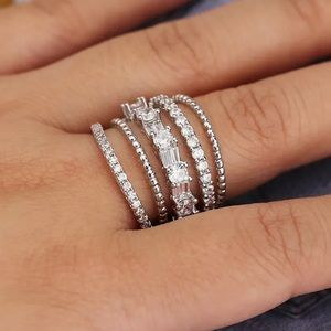 Sterling Silver Wide Band Pave and Baguette Ring